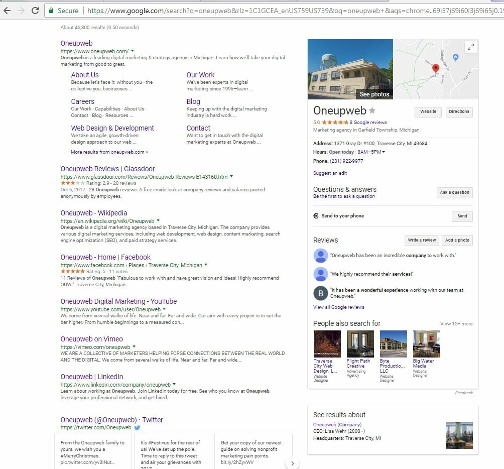Screenshot of the SERP with the query