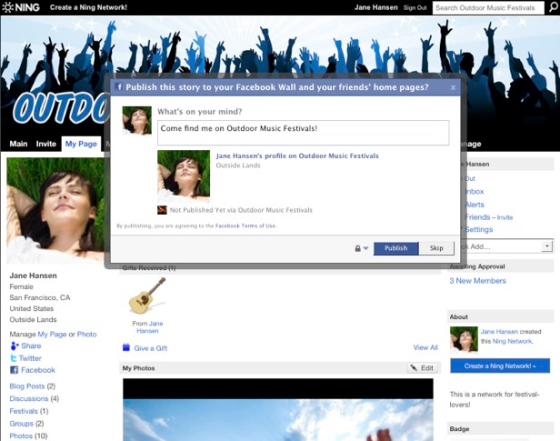 1 Ning Social Networking Facebook Integration