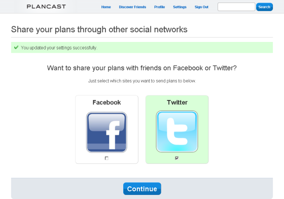 plancast sharing options screenshot