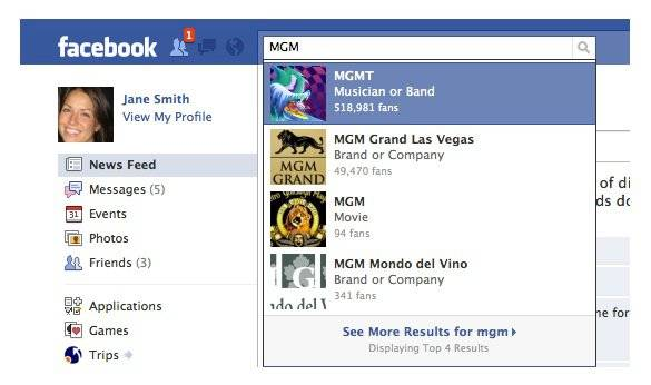 MGM Facebook search