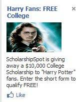 Harry Potter scholarship ad