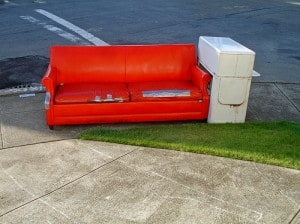 Duct Taped Red Couch