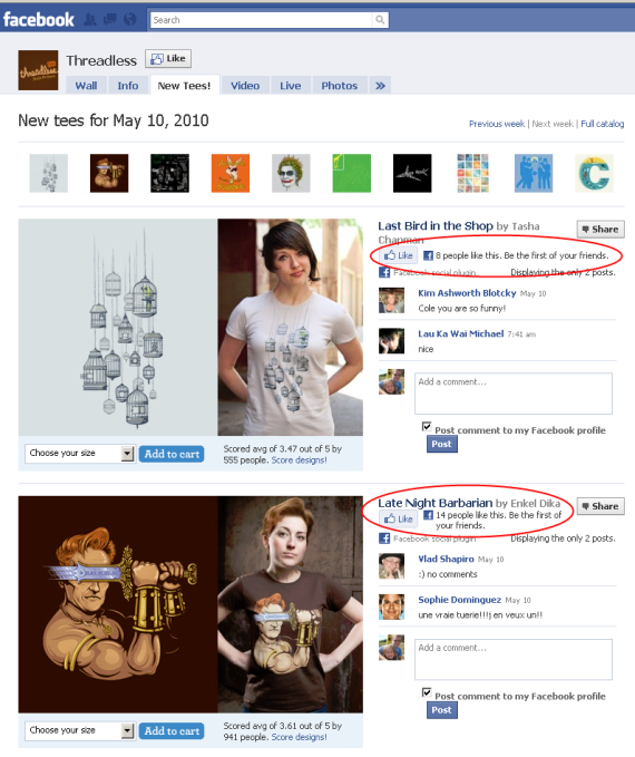 threadless facebook tab screenshot