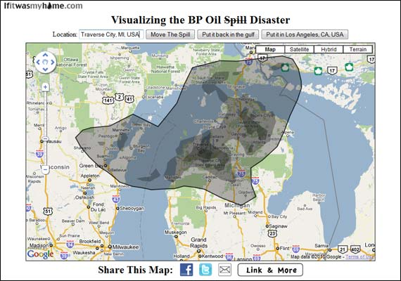 BP oil spill overlaid on northern Michigan