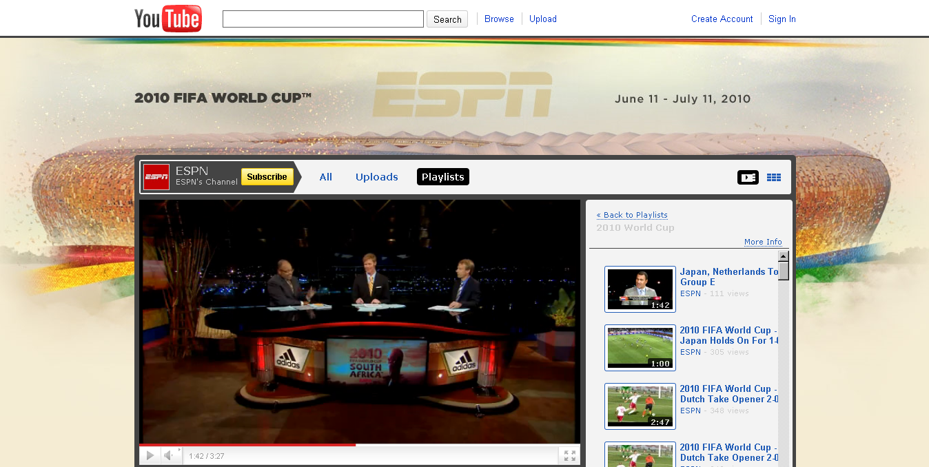 ESPN YouTube Channel screenshot