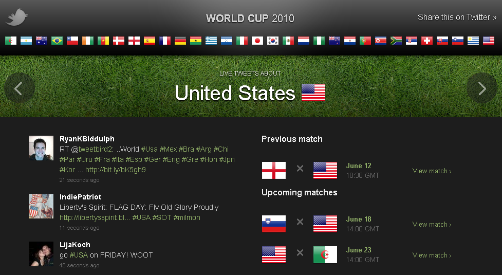 Twitter World Cup 2010 screenshot
