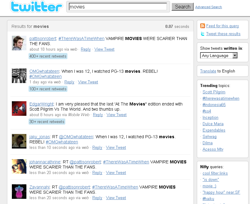 Twitter Search Results For Movies