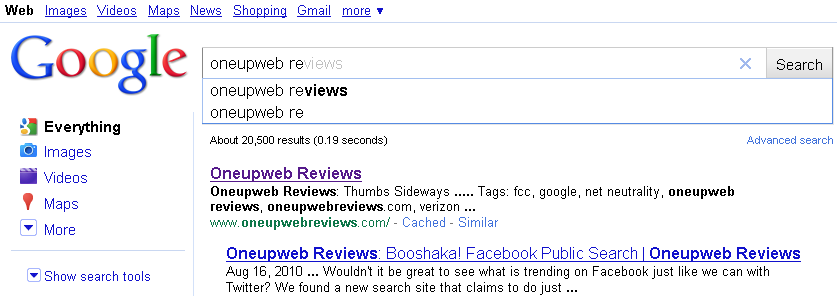 Instant Search Oneupweb Reviews