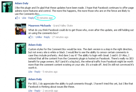 Oneupweb Facebook Comments Update Time Stamp