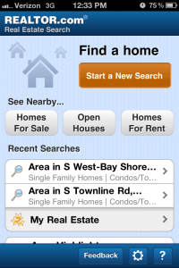 Realtor.com mobile app home screen
