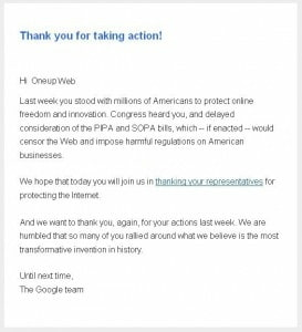 Google letter to Oneupweb thanking for the SOPA and PIPA support