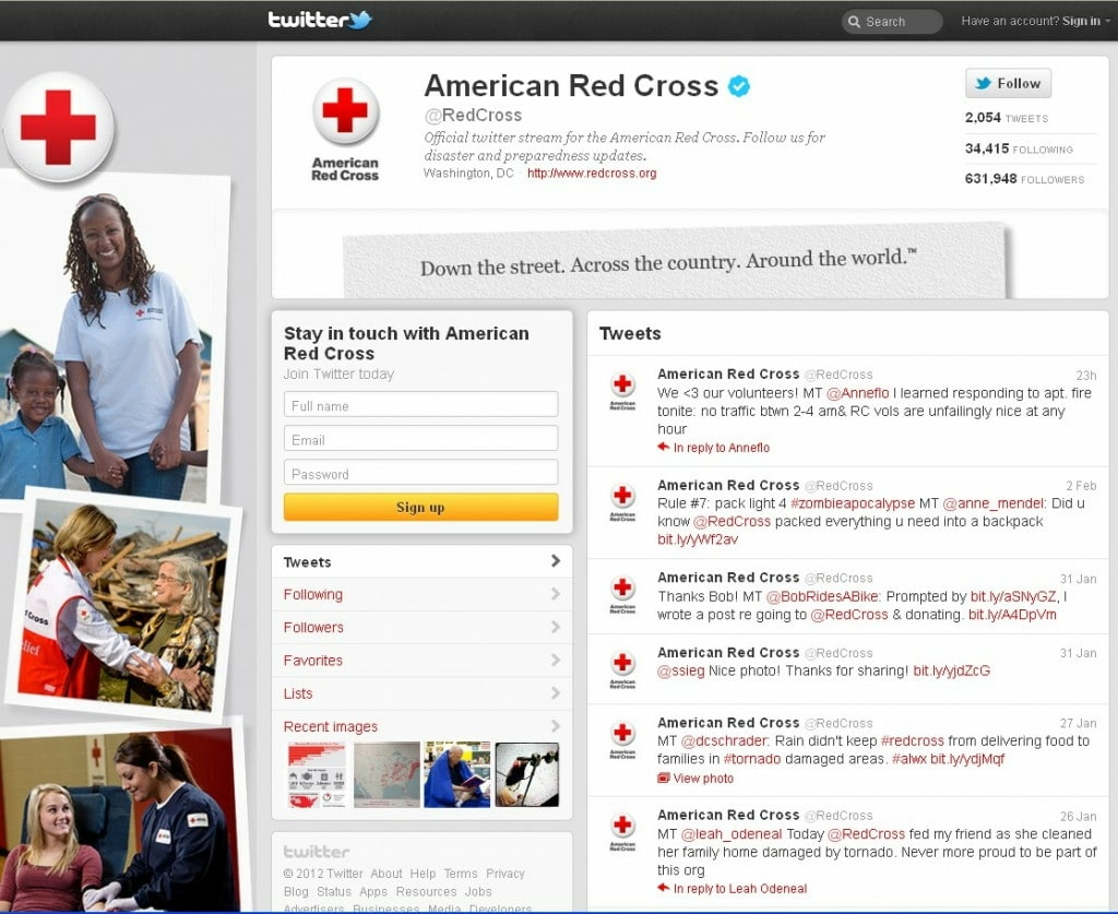 The American Red Cross' new Twitter brand page