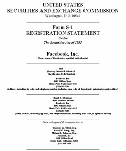 Top Sheet of the FB SEC Registration Form