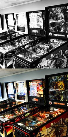Black & White Pinball Machines - Color Pinball Machines