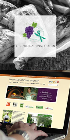 TheInternational Kitchen logo and website design