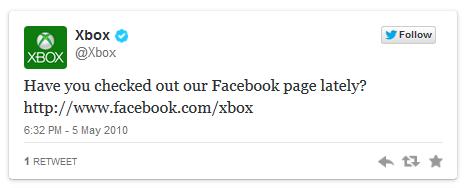 Xbox's 1st tweet in 2009.