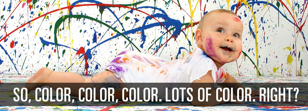 Baby splattered with paint image
