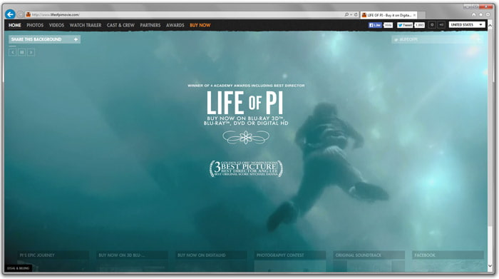 Screenshot of the Life of Pi promotion website