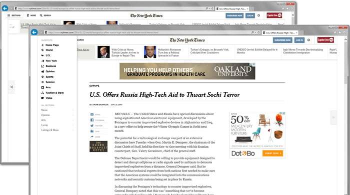 Screenshot of the New York Times redesign