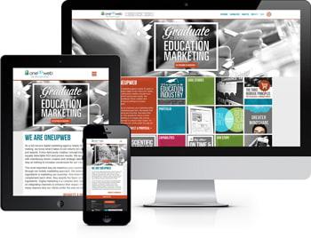 Responsive example of the Oneupweb website