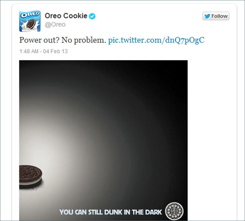 Oreo cookie tweet in their social strategy
