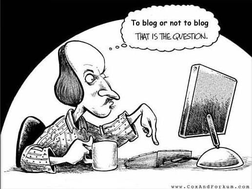 Cartoon image of Shakespere trying to decide if he should blog