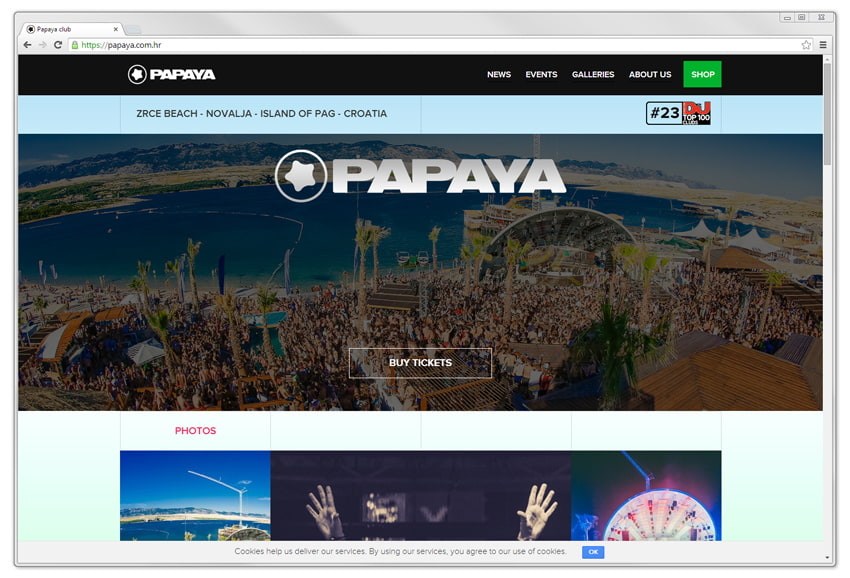 screenshot of website: Papaya