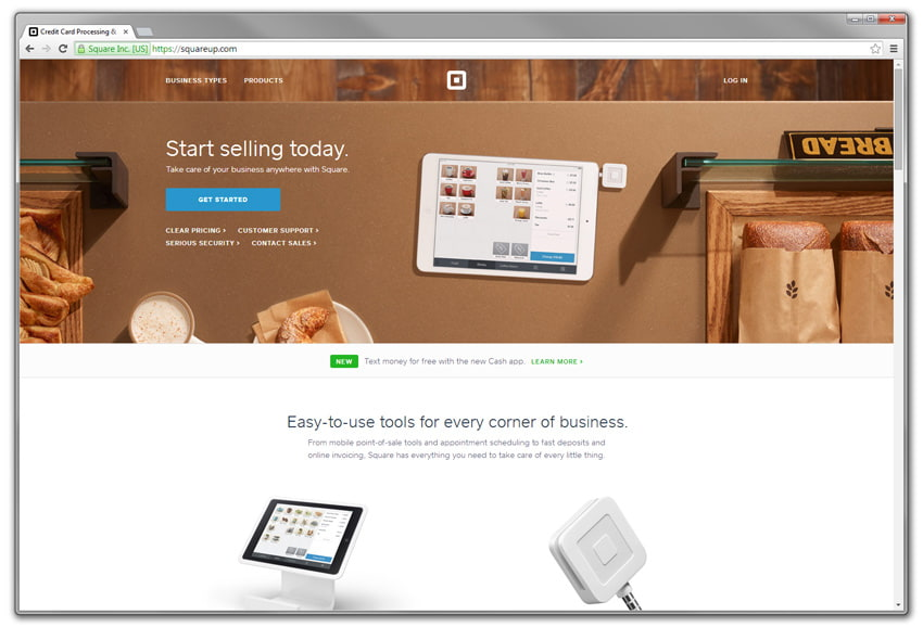 website screenshot: square