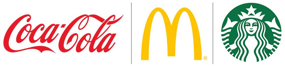 coke mcdonald and starbucks logos