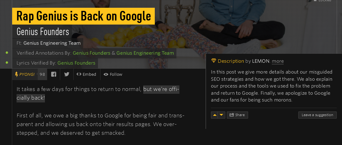 rap genius blog on google penalty