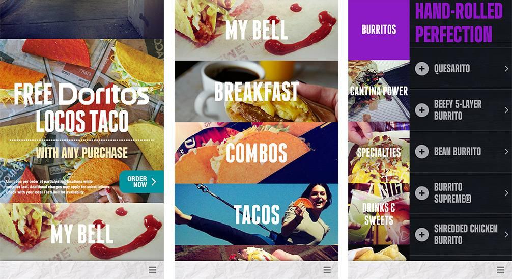 The Taco Bell App Main Menu Screen