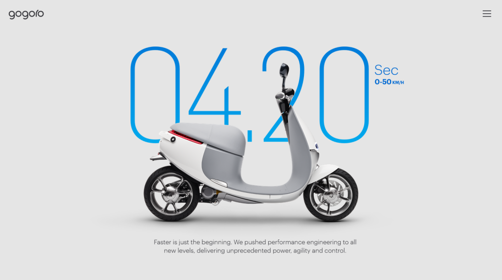 Gogoro uses gratuitous amounts of whitespace throughout the design to focus the user on a single piece of content at a time.