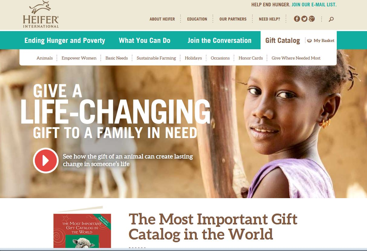 Heifer International's Gift Catalog | Oneupweb