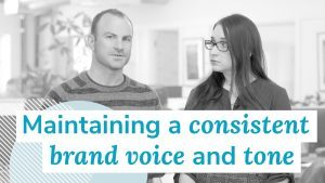 freddy and ashley talk about how important it is to maintain a consistent brand voice and tone