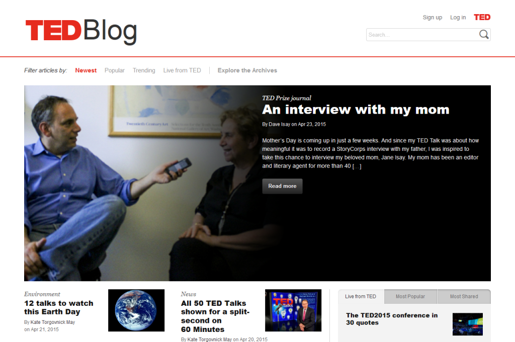 TED Blog screenshot