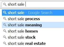 short sale search suggestions