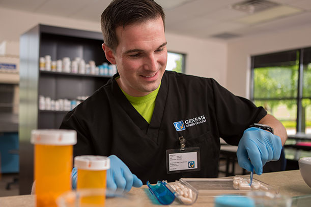 a Genesis Career College Student sorts pills