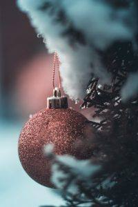 sparkly holiday ornament hanging from snowy pine tree branch