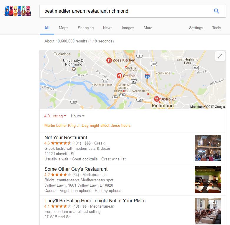 Screenshot of search engine results of best mediterranean restaurant in richmond