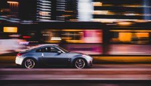 car speeding through city road