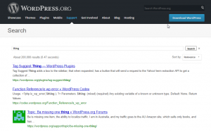 Screenshot of the wordpress search feature with the keyword
