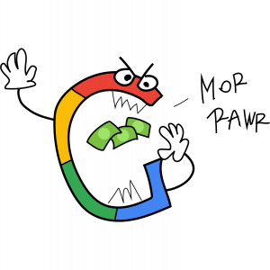 Illustrated Google logo that looks like a monster roaring and eating money