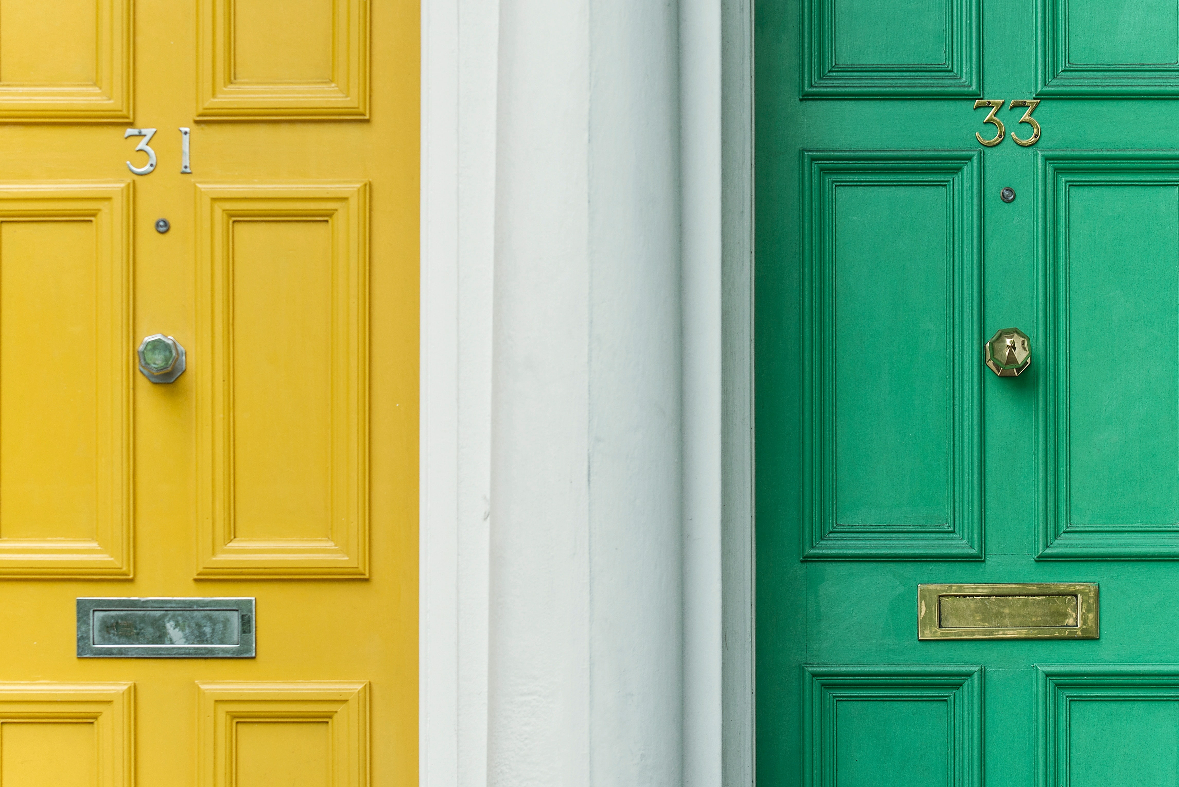 two different colored doors