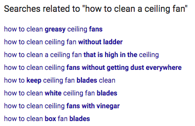 Screenshot of Google searches related to how to clean a ceiling fan.