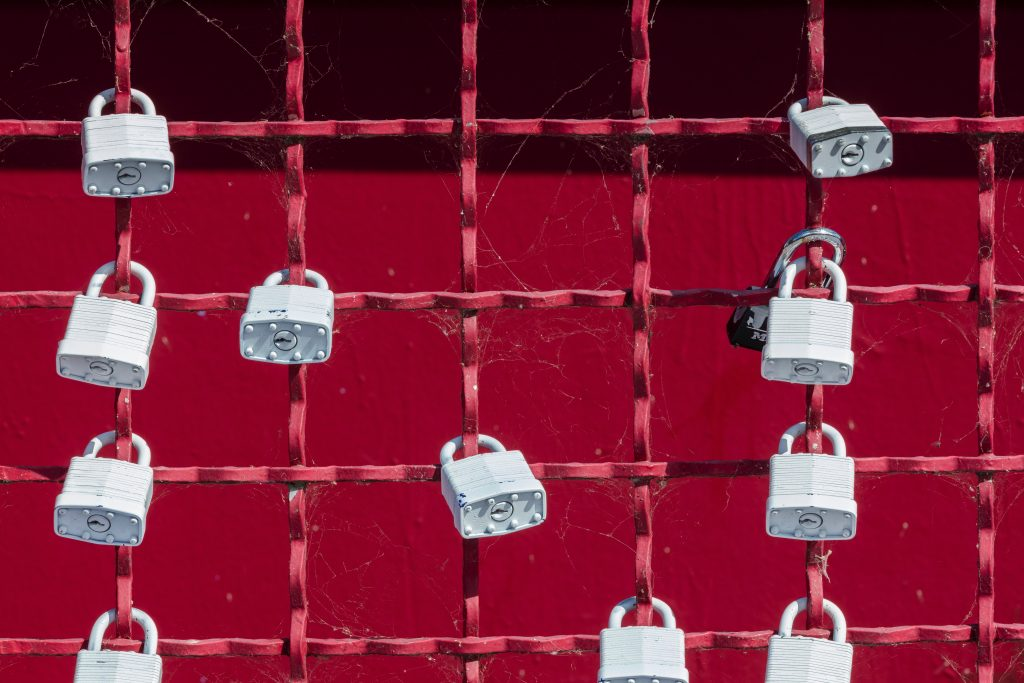 locks on a fence