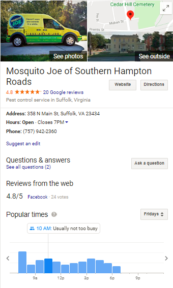 Google My Business profile of Mosquito Joe of Southern Hampton Roads with address shown.
