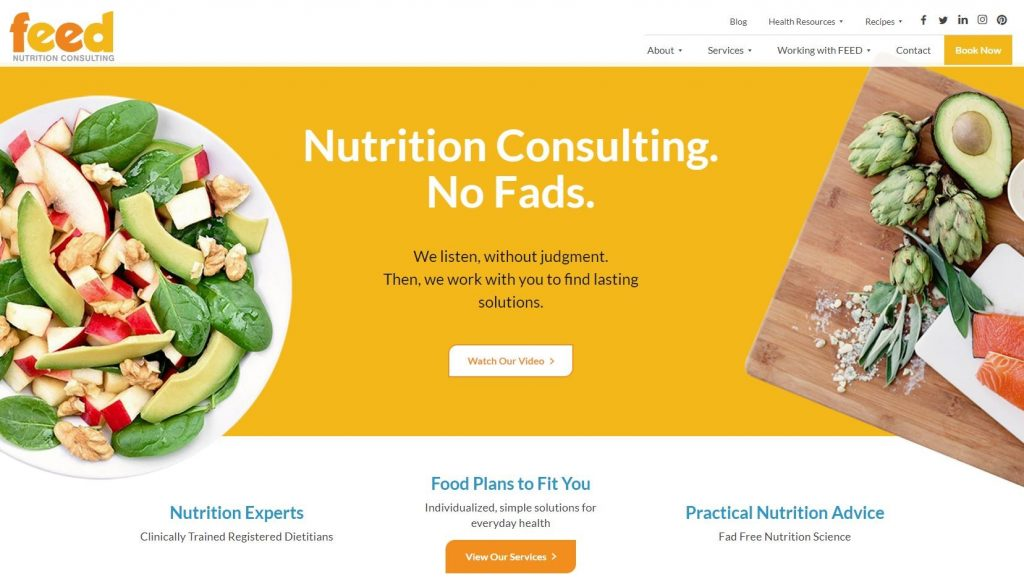 A screenshot of Feed's homepage on their website.