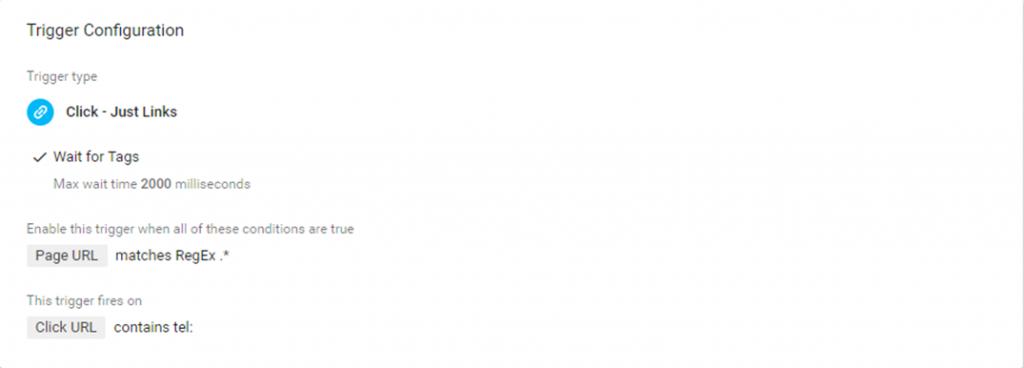 A screenshot of Google Tag Manager click trigger configuration.