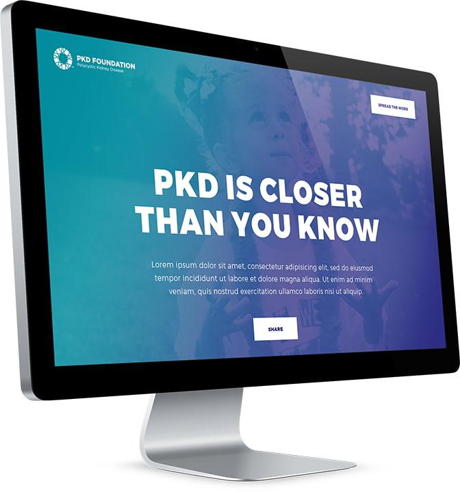 PKD Foundation's website open on a desktop computer.