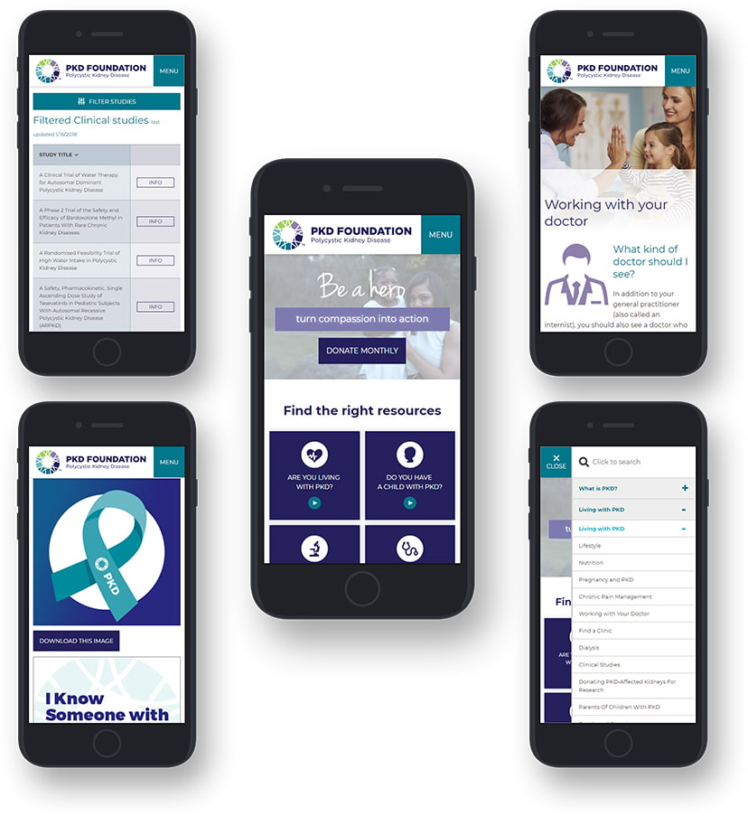 Five mobile devices with various PKD Foundation webpages open showing mobile layout.